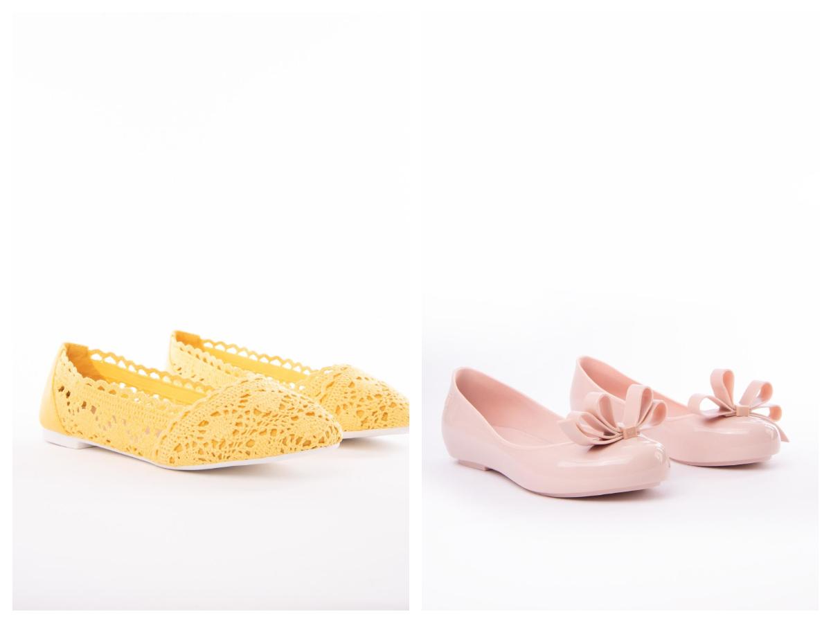 Damskie baleriny na lato - model żółty ażurowy